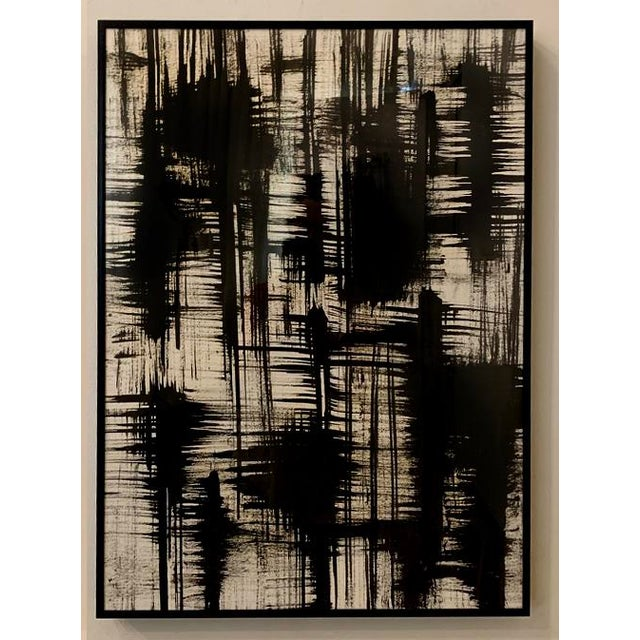 Contemporary Contemporary Black and White Ink Paintings, Framed - Set of 2 For Sale - Image 3 of 4