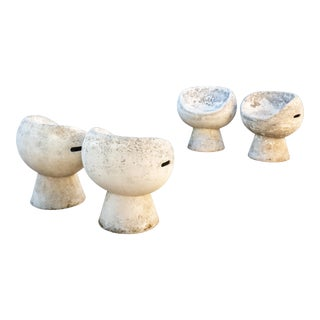 1960s Modern Willy Guhl Concrete Pod Chairs - Set of 4 For Sale