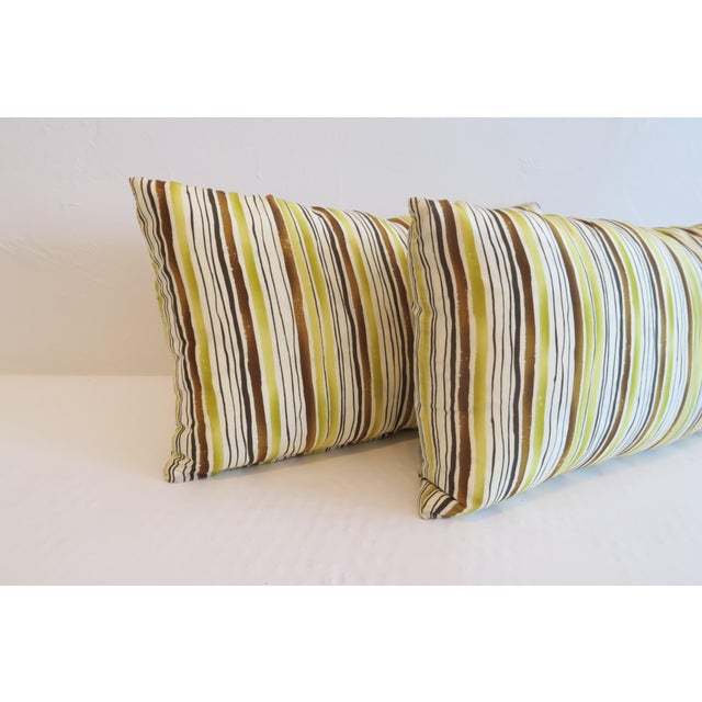 Custom Green Stripe Lumbar Pillows- a Pair - Image 3 of 4