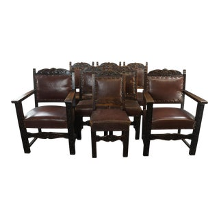 1930's French Renaissance Dining Chairs - Set of 8 For Sale