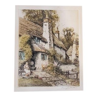 "Henry G. Walker ""Country Cottage"" Etching with Aquatint C.1930 For Sale"
