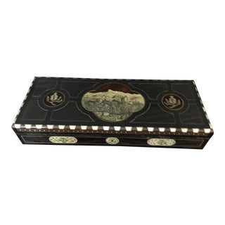 Antique Granada Spain the Citadel Inlaid & Etched Wood Desk Box