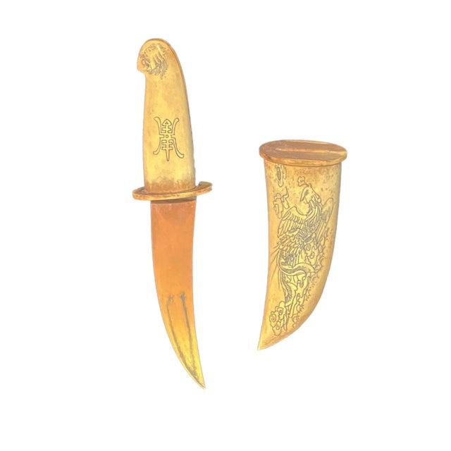 Chinoiserie Hand Carved Bone Knife Letter Opener Chairish