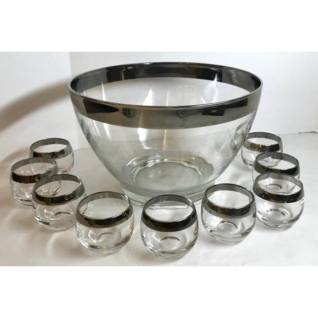 Vintage Dorothy Thorpe Glass Silver Band Punch Bowl Set- 10 Pieces For Sale - Image 11 of 11