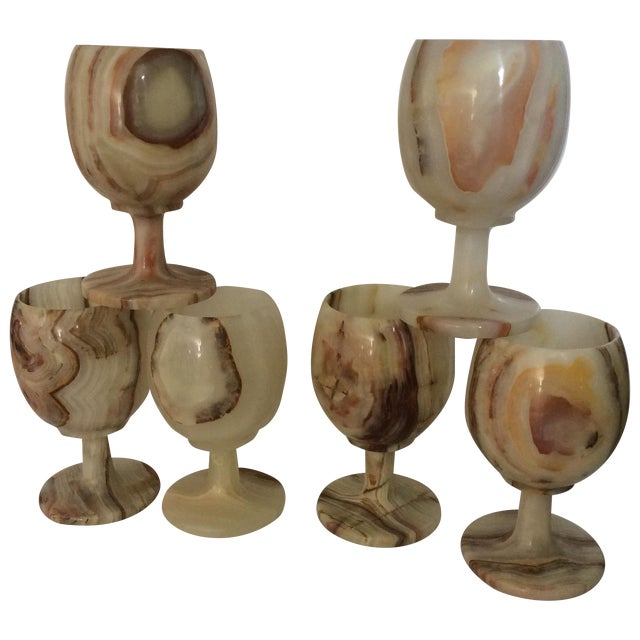 Carved Onyx Wine Glass Goblets - Set of 6 - Image 1 of 8