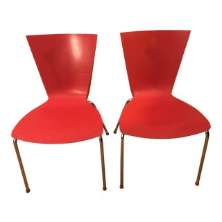1950s Mid Century Red Lowenstein Dining or Office Chairs For Sale