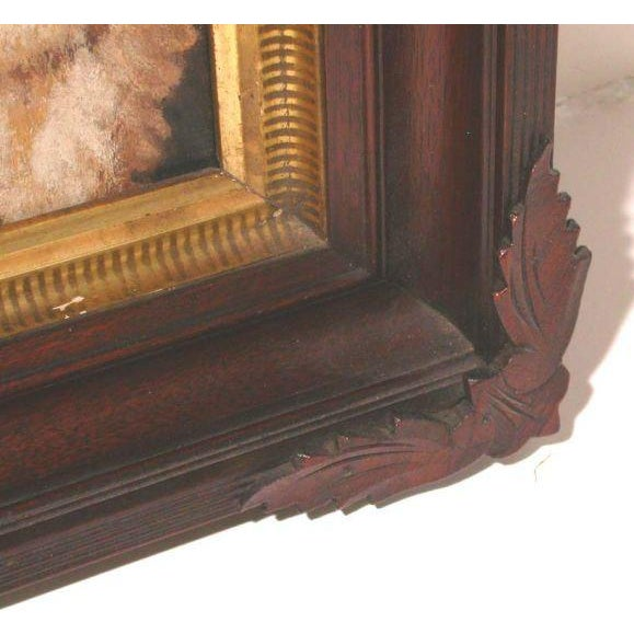 "This is a great painting of a dog in a folkart type frame. He is very lovingly painted. United States, circa 1900 9.5"" H X..."