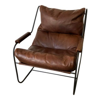 Cisco Brothers Hand Crafted Chocolate Brown Leather & Metal Brando Lounge Chair For Sale