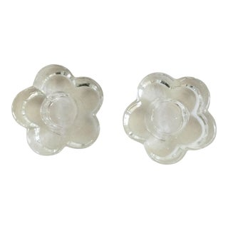 20th Century Cottage Daisy Motif Candle Holders - a Pair For Sale