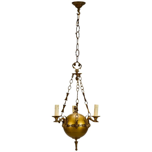 Small Round Neoclassical Three-Light Brass Fixture with Original Chain - Image 3 of 11