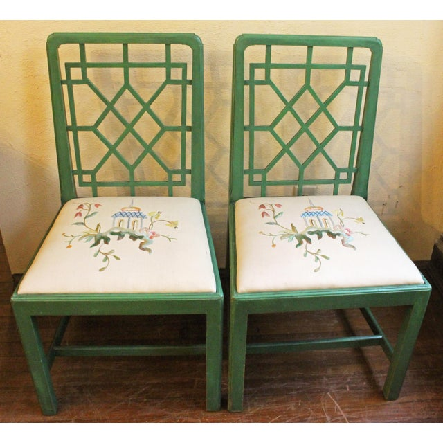 Green Chinese Chippendale Style Painted Chairs- A Pair For Sale - Image 8 of 8