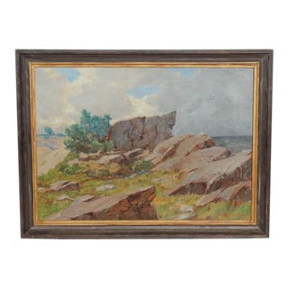 20th Century A. Gregers Rasmussen Coastal Landscape Oil Painting
