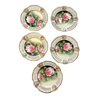 Hand Painted Bavarian Rose China Plates- Set of 5 For Sale