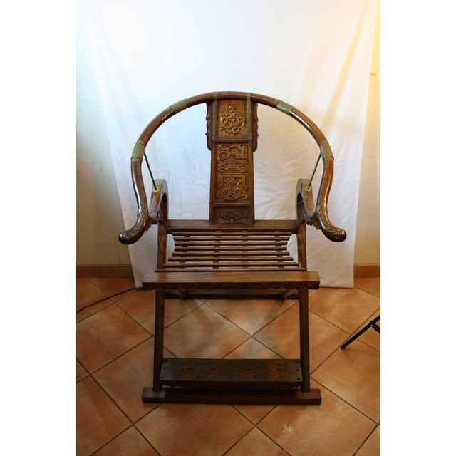 Chinese Carved Rosewood Folding Chairs - A Pair - Image 11 of 11