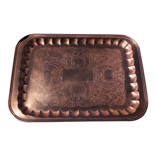 Vintage Copper Serving Tray For Sale