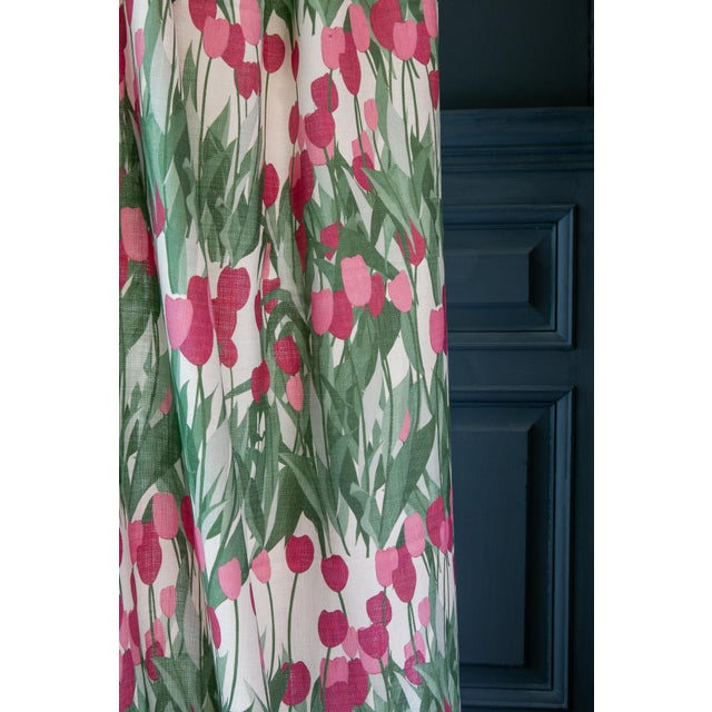 Contemporary In Bloom Fabric in Spinel Red, Sample For Sale - Image 3 of 7