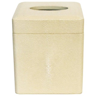 Italian Ivory Shagreen Tissue Box For Sale