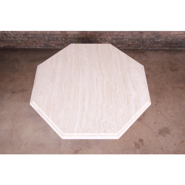 Modern Italian Travertine Octagonal Pedestal Dining or Center Table For Sale In South Bend - Image 6 of 10