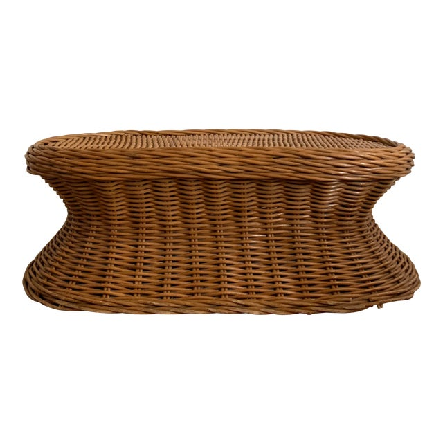 Vintage Wicker Coffee Table For Sale