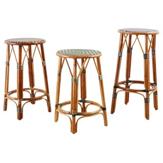 Set of Three Maison Gatti Rattan Bistro Bar Stools For Sale