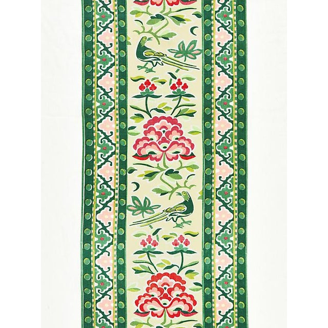 Traditional Scalamandre Royal Peony Linen Print, Spring Green Fabric For Sale - Image 3 of 3