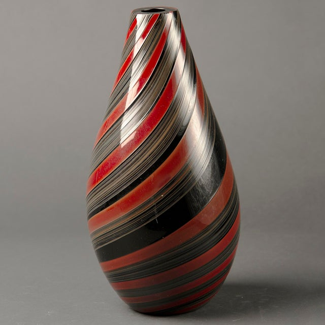Large Murano Glass Red and Black Striped Vase For Sale - Image 4 of 7