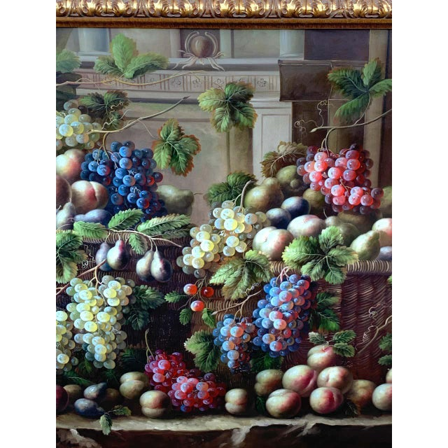 European Still Life of Grapes on a Ledge, Unsigned For Sale - Image 4 of 11