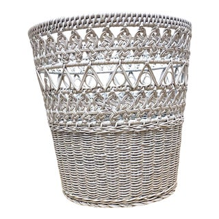 Late 20th Century Boho Chic Wicker Wastebasket For Sale