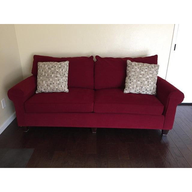 Contemporary Bassett Chenille Sofa For Sale - Image 9 of 9
