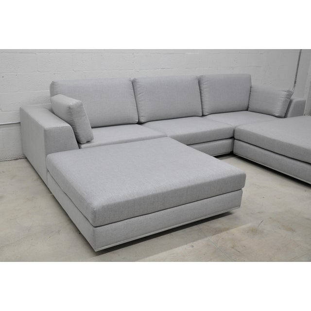 Contemporary Gray Modular Sectional Sofa and Ottoman For Sale - Image 4 of 13