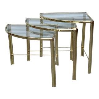 Mid Century Milo Baughman Glass Top Corner Nesting Tables - 3 Pieces For Sale