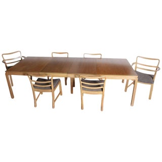 Edward Wormley Dunbar Mahogany Dining Table With Chairs Two Leaves Two Armchairs For Sale