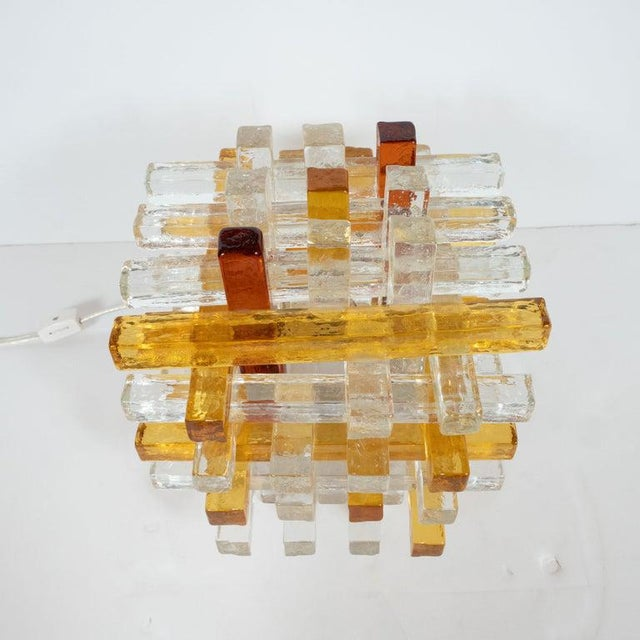 1970s Mid-Century Modern Cubist Veronese Amber Hued Glass Table Lamp by Poliarte For Sale - Image 5 of 13