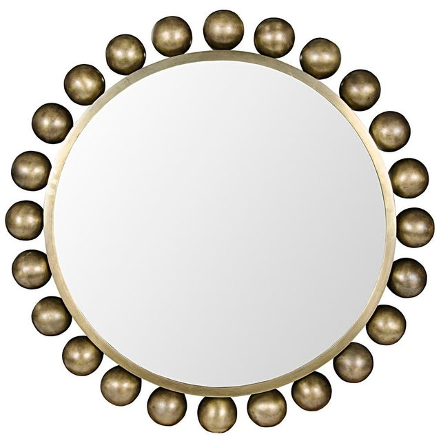 Contemporary Cooper Mirror, Antique Brass For Sale - Image 3 of 3