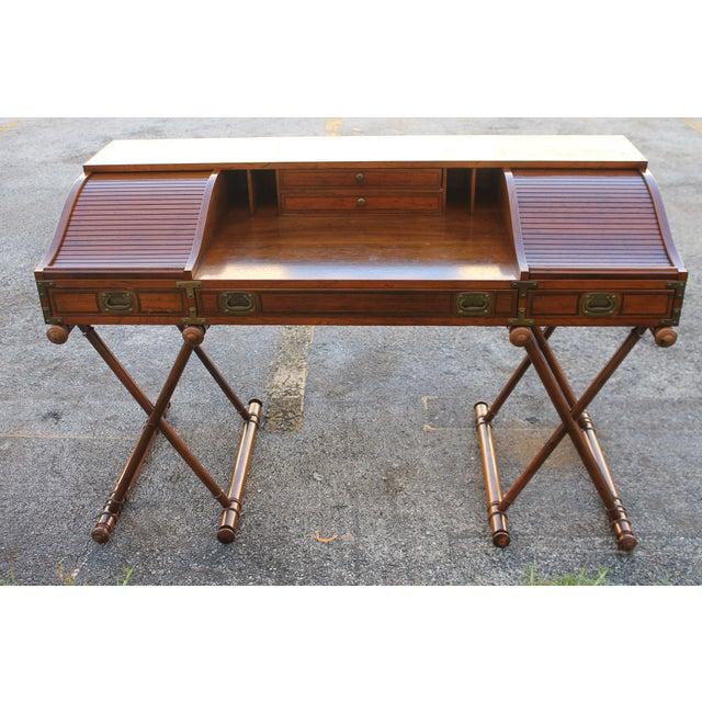 1970s Vintage Campaign Rolltop Desk For Sale - Image 5 of 13