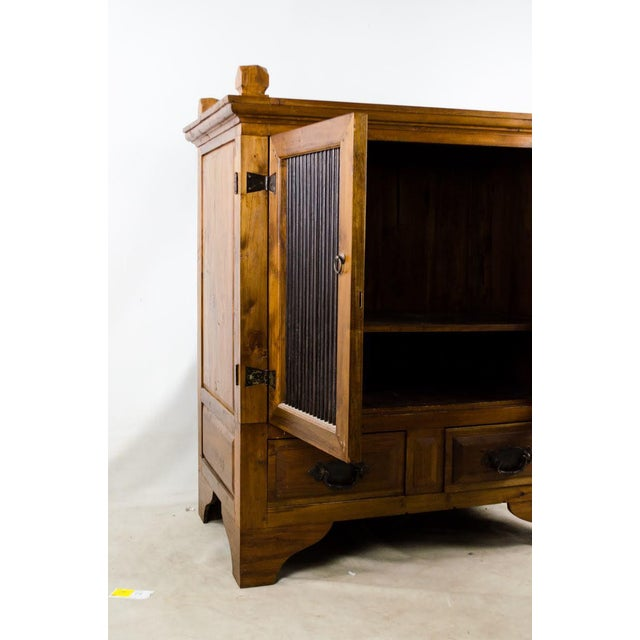 1970s Vintage Indonesian Double Hinged Iron and Teak Cabinet For Sale - Image 5 of 13