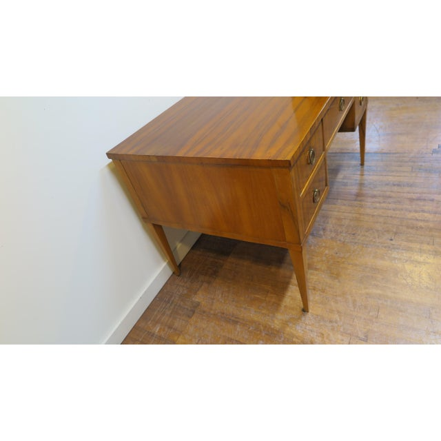 Midcentury Tiger Wood Desk For Sale - Image 10 of 13