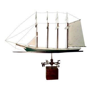 1930s Frank Adams Four Masted Schooner Ship Wood Metal Weathervane For Sale