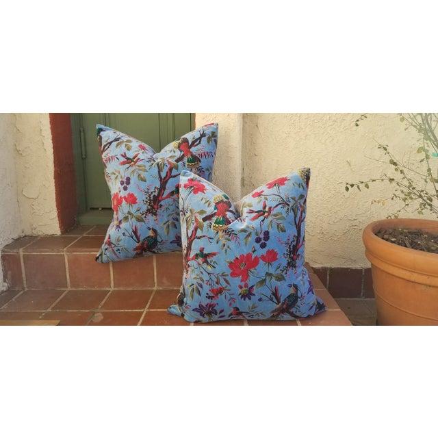 Textile Sumptuous Cotton Velvet Pillows Pair For Sale - Image 7 of 7