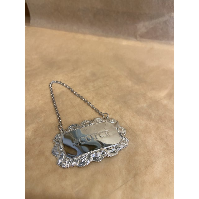 Vintage Silverplate Scotch Decanter Tag For Sale In Boston - Image 6 of 6