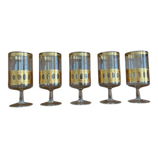 Vintage Culver Ltd. Antigua Gold Stemmed Glasses- Set of 5 For Sale