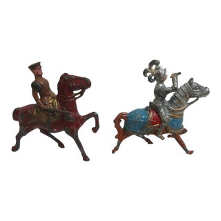 Antique Lead Knight & Soldier Toy Figures - A Pair