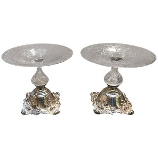 19th Century Edwradian Sterling and Glass Compote Tazzas - a Pair