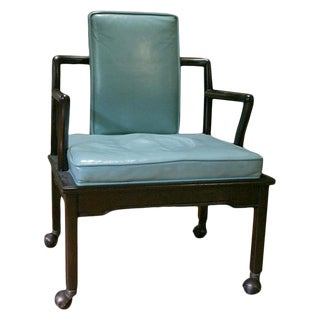 Turquoise Leather Club Chair by Widdicomb For Sale