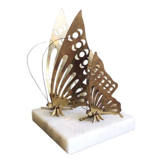 Vintage Brass Butterfly Wall Mounts - a Pair For Sale
