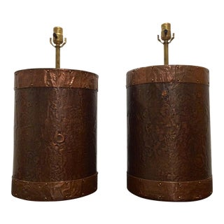Hand Crafted Copper Clad Table Lamps - A Pair For Sale