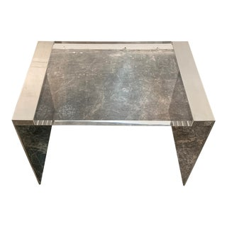 Ralph Lauren Acrylic and Polished Steel Side Table For Sale