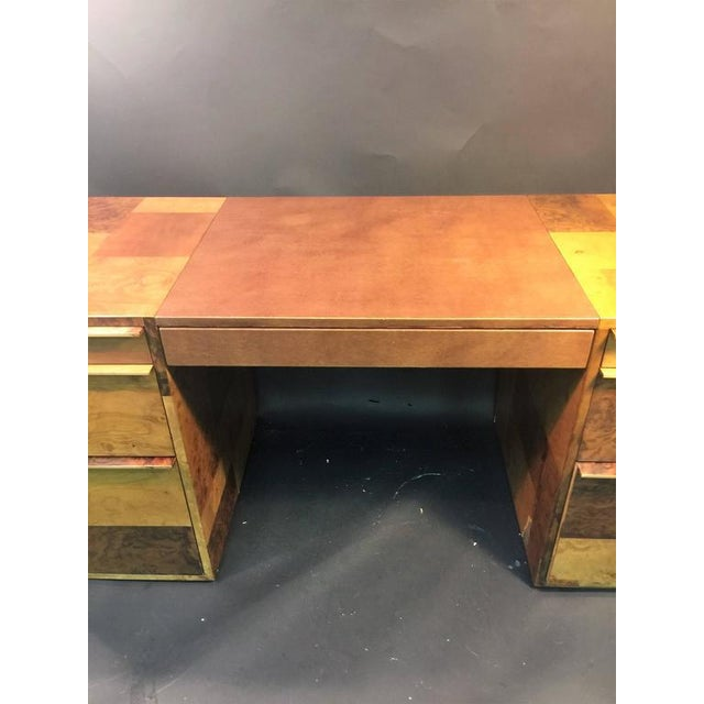 PAUL EVANS PATCHWORK BURLED WOOD AND LEATHER DESK - Image 8 of 10