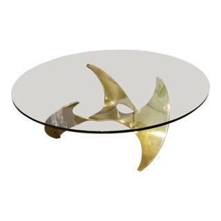 Knut Hesterberg for Ronal Schmitt Propeller Glass & Brass Coffee Table