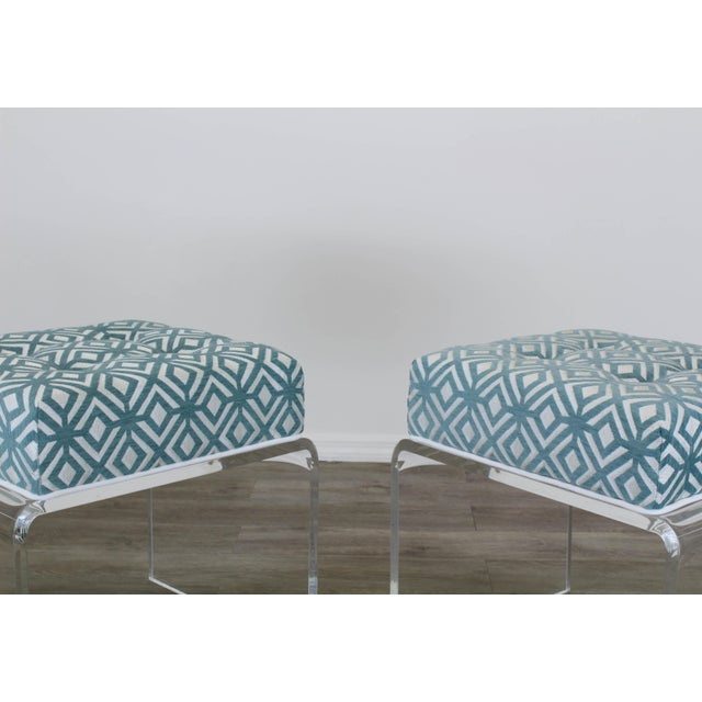 Waterfall Acrylic Benches- a Pair For Sale - Image 10 of 12